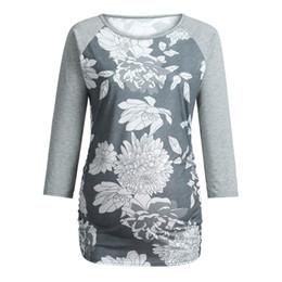 MUQGEW Femmes Tops et Blouses Maternité À Manches Longues Floral Print Tops Enceinte T-shirt Vêtements Blusas Femininas Elegante ? partir de fabricateur