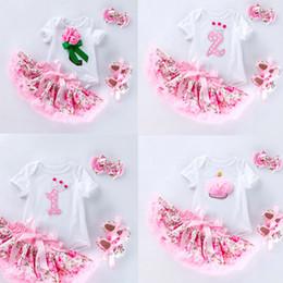 Mädchen valentines kleider online-Baby Mädchen Rock Anzug Kleinkind Mädchen Designer Kleid Kurzarm Rundkragen Blume Cartoon Valentinstag Druck Rock 49