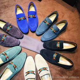 Zapatos hechos italia online-Mocasines de vestir de terciopelo clásico para hombres con suela de cuero, zapatos casuales de moda caseros para bodas tamaño 38-44