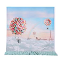 2019 backdrops igreja Fundo hotography Andoer 1.5 * 2 m Fotografia Fundo Ballons Rainbow Blue Sky Padrão Photo Studio Pano de Fundo para Crianças Ca ...
