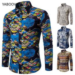 Più le camicette di lusso online-T-shirt da Uomo Lino Camicia a maniche lunghe stile retrò Camicette hawaiane floreali da uomo slim fit oversize 3XL 4XL 5XL