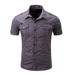 2019 vestido militar para homens Comércio dos homens americanos e europeus dos homens de manga curta camisas estilo militar mens camisas de vestido de designer camisas ao ar livre puro algodão vestido militar para homens barato