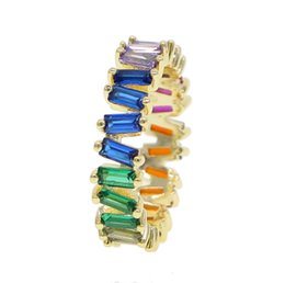 rainbow rings for women Coupons - Thin Baguette T Ring Brand Engagement Handmade rainbow Stone Ring For Women Fashion Finger gold filled colorful elegance CZ