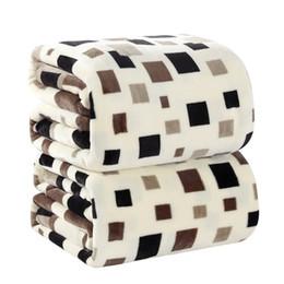 Coral japon online-Textiles para el hogar Cuadros cuadrados Estilo de Japón Impreso 200cmX230cm Geométrico, Chocolate, Lavar a mano una manta de franela caliente en la cama40