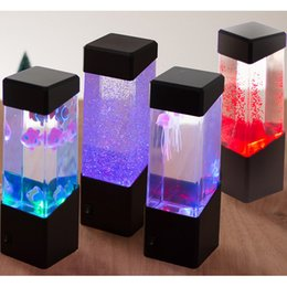 Tables de mouvement en Ligne-Table de chevet Motion Lampe Lampe de méduse Aquarium LED réservoir Bureau Night Light Table de chevet Night Light Pour Aquarium