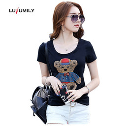 Las mujeres hechas a mano de la camiseta online-Lusumily 2019 Summer T-Shirt Mujeres Plus Size White Tops Lentejuelas hechas a mano Kawaii Bear Casual Shirt Cotton Blace T-shirt Female Bt Y19072001