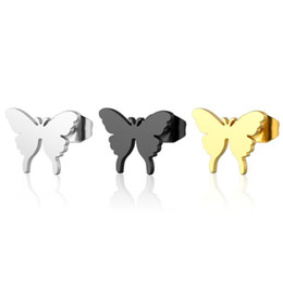 Moda negro plata color oro pendientes de mariposa de acero inoxidable para mujeres niños regalo de la joyería pendientes lindos del perno prisionero desde fabricantes