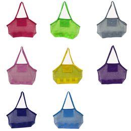 Bolsas de arena de nylon online-Gran capacidad para niños bolsas de playa Arena Away Malla Bolsa de asas Juguetes para niños Cáscara Recoger Bolsas de almacenamiento pliegues bolsos de compras a favor AAA2014