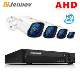 vista remota dvr Sconti Kit di telecamere Jennov 5MP 4CH CCTV Scurity Kit Videosorveglianza IP Monitoraggio video esterno DVR Telecamera AHD Visualizzazione remota P2P HD