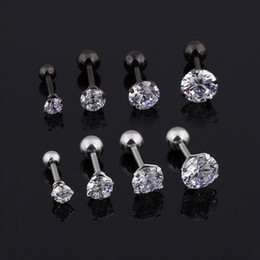 Brincos médicos on-line-Brincos Mens Medical brincos de zircão em aço de titânio Tamanho 3/4/5 / 6mm de estrela Cartilagem de cristal Brinco Brinco de orelha Piercing Top Body Jewelry Earrings