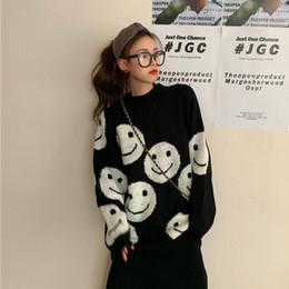 suéteres jersey para niñas. Rebajas mujeres sueltan el suéter del suéter del invierno del otoño de Corea Nueva Smiley Jacquard simple de manga larga jersey de punto suéteres niñas ML237
