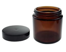 Velas de ámbar online-Frasco de vidrio ámbar de 120 ml Contenedor de frascos cosméticos de 4 oz Almacenamiento de velas de gran tamaño con tapa negra de lado recto para miel