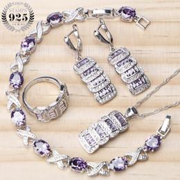Ensembles de bijoux de mariée pour les femmes 925 Sterling bijoux en argent violet Zircon Drop boucles d'oreilles Bracelet collier bagues ensemble cadeaux boîte ? partir de fabricateur