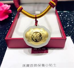 hetischen jade schmuck Rabatt Natürliche hetian jade eingelegten gold fu lock anhänger halskette männer und frauen kinder schmuck geschenk amulett