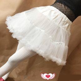 Jupe lingerie blanche en Ligne-Robe fille lolita Sous-jupe blanc Femme Blanc Robe courte de sous-vêtement robe de bal jupon jupon