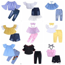 bébé jean costumes Promotion Vêtements bébé fille Vêtements d'été pour enfants Ensembles sans bretelles Crop Tops Jeans Costumes Boutique T-shirt Shorts En Jean Pantalons Jupes Bandeau Tenues B5546