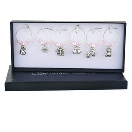 table charm wholesale Coupons - 1Set 6PCs New Year Gift Wine Glass Charms Navidad Imitation Pearl Charms For Jewelry Making Wine Marker Christmas Table Decor