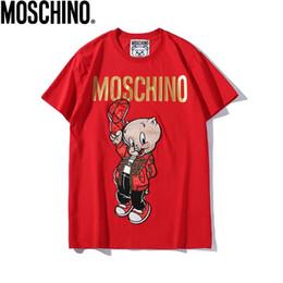 Canada 2019 nouveau T-shirt en coton brodé à la main avec un petit cochon de chaperon rouge imprimé. cheap embroidered patch women Offre