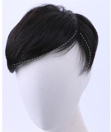 Peruca de homens de cabelo curto preto on-line-Curto Peruca de Cabelo Humano Peruca Em Linha Reta Natural Preto Remy Remy Acessórios Peruca para Homens com Clips ACL019