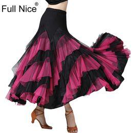 свинг-костюмы Скидка Ballroom Dance Skirt Flower Ruffle  Long Skirt Big Swing Modern Dance Women Tango Stage costumes Flamenco Belly Walt