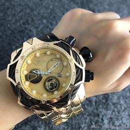 m4 tap Desconto 3A homens de boa qualidade invicta OURO relógio pulseira de aço inoxidável Mens Relógios de pulso de Quartzo relógios relogies para homens relojes Melhor Presente Venda Quente