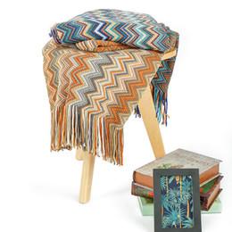 Couvertures acryliques en Ligne-100% acrylique fil teint couverture tricotée bandes colorées maison couverture fil canapé-lit pression décorative Throw