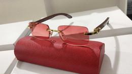 Decoração do desenhador on-line-luneta óculos chifre de búfalo Óculos Marca Designer Men óculos sem aro Decor Alloy Quadro Pernas Buffalo Madeira óculos Homens Sun com caixas