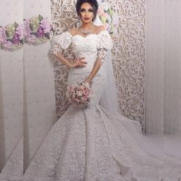 2020 sposa Mermaid vestiti sexy fuori dalla spalla di Applique di lusso Abiti da sposa Robe made abiti da sposa su misura Fuori spalla da