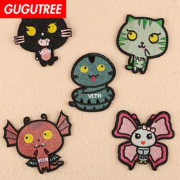 Round black cats patches for kids iron on embroidery badges appearance clothes