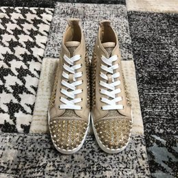 alta moda sneakers glitter oro Sconti Marchio di moda Red Soles high top flats Scarpe casual Sneakers da uomo e donna tempestate di brillantini dorati Taglia 35-47 Made China