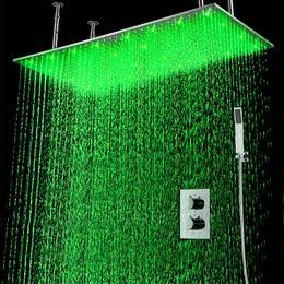 parois des jets de douche Promotion Set de douche thermostatique à LED dissimulée 2 jets installé dans le mur Pomme de douche à effet de pluie LED 20