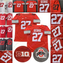 camisas de rugby da faculdade Desconto Eddie George Jersey 27 College NCAA Football Estado OSU Ohio Buckeyes Jerseys Cinza Vermelho Branco tamanho S-3XL