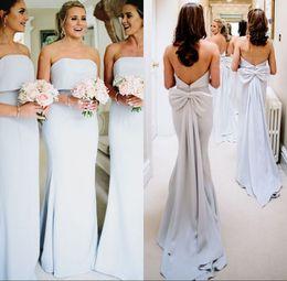 2019 cinturones de boda azul cielo Luz del cielo azul sin tirantes vestidos de dama de honor del arco del piso de longitud barato vestido de dama de honor vestido de dama de honor de boda BM0338 cinturones de boda azul cielo baratos