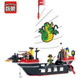 Imbarcazioni da diporto per bambini online-Enlighten 211 pz Pirate Ship Dragon Boat Creator Mattoni Compatibile LegoINGLs Città Building Blocks Set Giocattoli FAI DA TE per i bambini