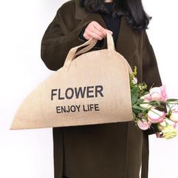 2019 grandi decorazioni di vaso di fiori Borsa per il trasporto di fiori Borsa per il trasporto di fiori portatili di lino Borsa per il trasporto di fiori freschi fioristi all'ingrosso QW9593