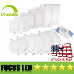 Wholesale Luces de panel LED ultrafinas de W W W W W W SMD2835 Downlight AC110 V Luminaria de techo Abajo Luz cálida fría Blanco natural K