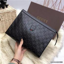 Grano di pietra online-Italion Designer Mens Borsa Clutch Bags Business Litchi Grain Borsa uomo in pelle italiana