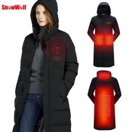 Cappotto termico lungo online-Snowwolf 2019 Uomo Donna USB Giacca riscaldata d'inverno gli appassionati di outdoor lungo incappucciato Riscaldamento Elettrico cappotto abbigliamento termico per l'escursione T190919