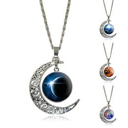 Cadeias de galáxias por atacado on-line-Atacado-Moda Crescente Lua pingente de colar Galaxy Espaço Cabochon de vidro cor prata Declaração de jóias Colar de corrente para as mulheres
