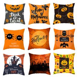 2019 capas de laranja Decoração de Halloween Sofá Fronha Abóbora Bat Laranja Lance Fronha 45 * 45 cm Sofá Fronha de Luxo Home Decor capas de laranja barato