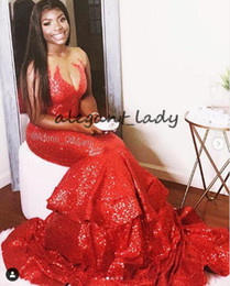 Rot prickelndes prom kleid rüschen online-Sexy Sheer Jewel Neck Mermaid Prom Formal Dresses 2019 Sparkly Red Sequins Ruffles Skirt Plus Size African Occasion Evening Gowns