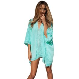 2b06d7403c38e 2019 New Women Beach Shirt Blouse Cover Ups V Neck Tunic Sarong Bathing  Suit Bikini Vintage Coverups Swimsuit Beachwear Robe