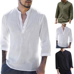 2019 chemises en lin pour hommes 2019 Hommes Pull En Lin Chemises À Manches Courtes Printemps D'été Respirant Mens Qualité Chemises Décontractées Slim Fit Chemises En Coton Massif Hommes chemises en lin pour hommes pas cher