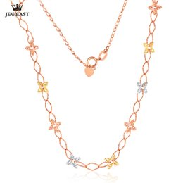 2019 18k чистое золотое ожерелье 18K Pure Gold Necklace Real AU 750 Solid Gold Chain Multicolor Flowers Nice Upscale Trendy Party Fine Jewelry Hot Sell New 2018 дешево 18k чистое золотое ожерелье