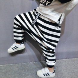 Rayure coréenne noir blanc en Ligne-Sarouel bébé garçon style coréen noirWhite Stripe enfants hiver chaud velours doublure pantalon