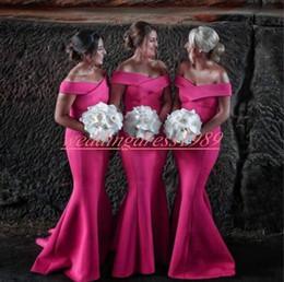 2019 lilás curto vestidos de dama de honra ruffle Modest Off Ombro Sereia Longo Da Dama De Honra Vestidos de Cetim Barato Vestido de Festa de Casamento Convidado Evening Evening Vestidos Formais Prom Dress