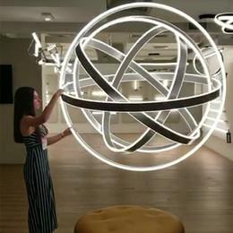 2019 pingente led linear Criativa Rotary Globe candelabro iluminação moderna Rodada luminaria Scrub Bola lustres Modernos sala avize Nordic Light
