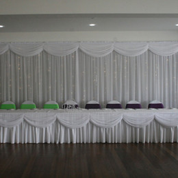 wedding table skirting swag Promo Codes - 20ft length white ice silk solid table skirt with swag for wedding decoration event party banquet table skirting