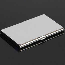 Hot Silver Pocket Business Name Credit ID Card Holder Metal Aluminum Box Cover Case wholesale free shipping