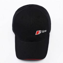 emblème audi en fibre de carbone Promotion Style de voiture casquette de baseball emblème Sline chapeau pour Audi A3 Sline A4 B6 A6 C5 B8 B7 C6 Q5 Q7 A3 8P